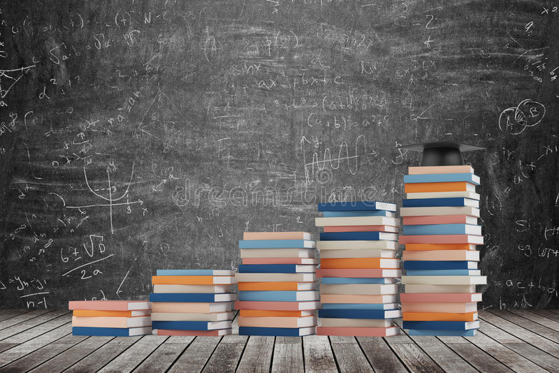 A stair is made of colourful books. A graduation hat is on the final step. Black chalk board with math formulas on the background. royalty free stock photography