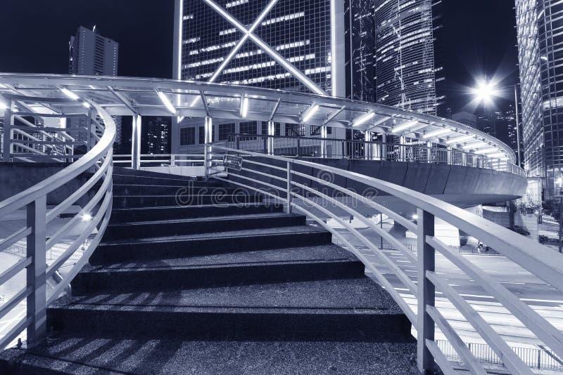 Pedestrian walkway in midtown of Hong Kong city at night. Stair of pedestrian walkway in midtown of Hong Kong city at night royalty free stock images