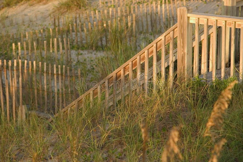 Stair Railing and Fences. A stair railing and several fences in the dunes are lit up by the early morning sun on Emerald Isle, North Carolina royalty free stock images