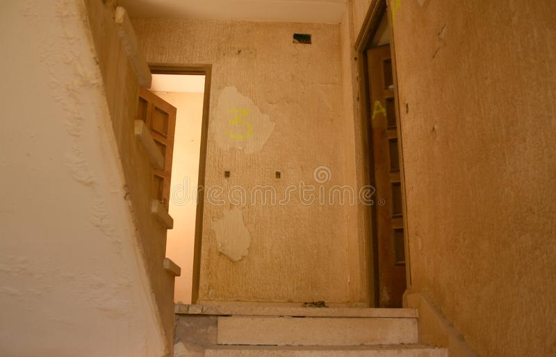 AT THE STAIR´S END. Photographs of a beautiful abandoned villa royalty free stock images