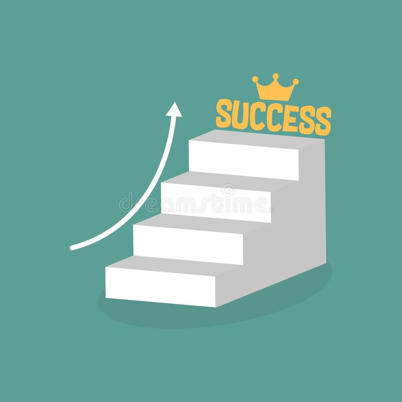 Stair step go to success. Staircase to success. Cartoon stock illustration