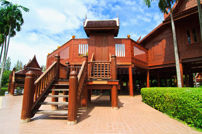 Stair of thai style house stock photography