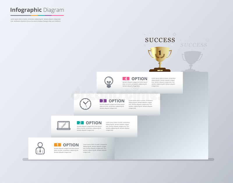 Stair To Success Infographic Design Template For Replace Text Stock