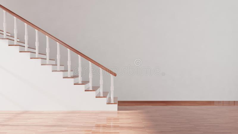Stair and white empty wall royalty free illustration