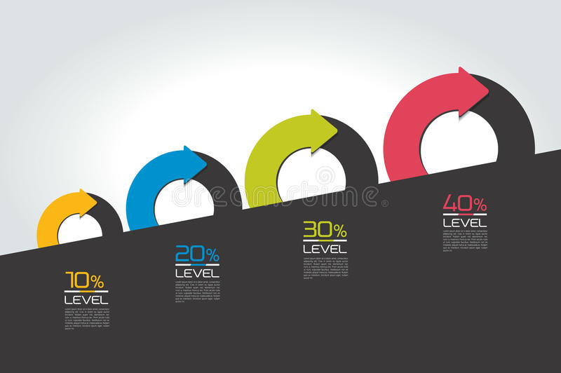 Staircaise-infographics Dia Kreisen Sie ein, rund geteilt in zwei infographic Pfeile Schablone, Entwurf, Diagramm, Diagramm, Diag lizenzfreie abbildung