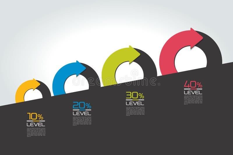 Staircaise infographics obruszenie Okrąg, round dzielący w dwa strzała infographic Szablon, plan, diagram, mapa, wykres royalty ilustracja