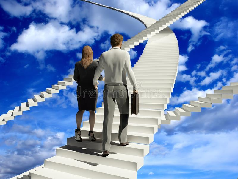 Staircase. People walk up the steps on the skyline stock illustration