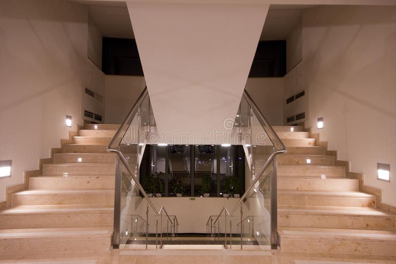 Staircase. Empty staircase indoor spacious hall royalty free stock images