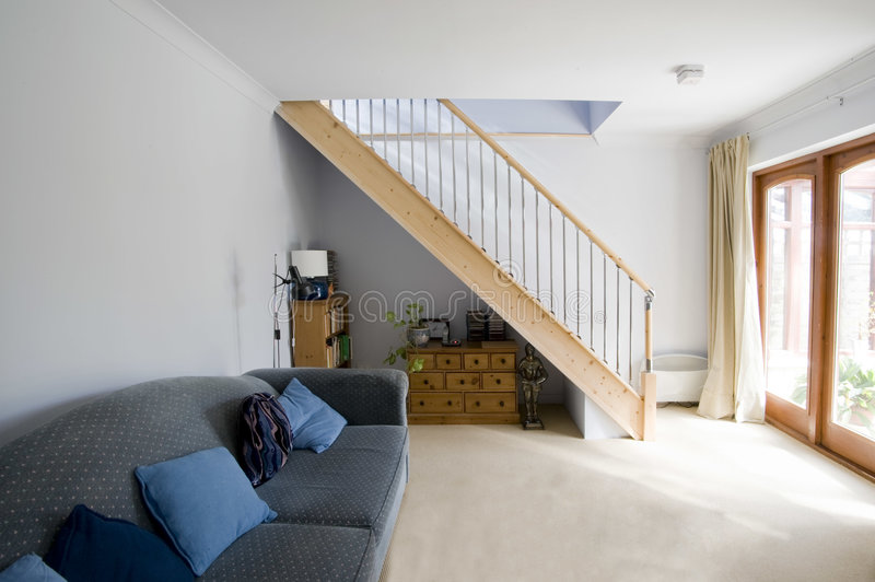Staircase. A staircase area in newly restored rebuilt house royalty free stock photography