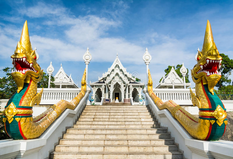 The staircase of the central entrance in Buddha Temple Kaeo Ko W. Araram with dragons. Location: Krabi, Thailand. Artistic picture. Beauty world stock image