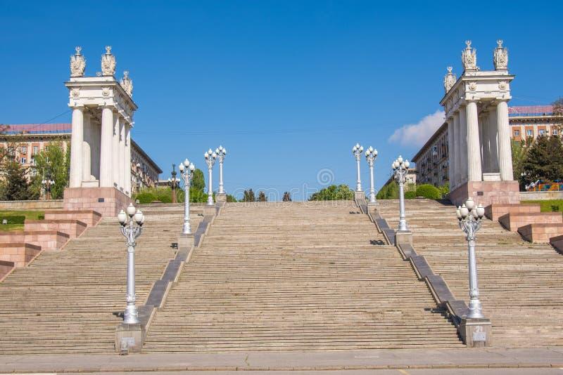 Volgograd. Russia. Staircase central quay of Volgograd behalf of the 62nd Army. Staircase central quay of Volgograd behalf of the 62nd Army royalty free stock image