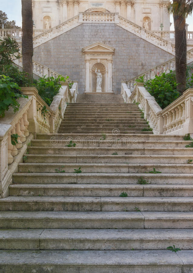 Staircase of the church. Prcanj town. Montenegro royalty free stock image