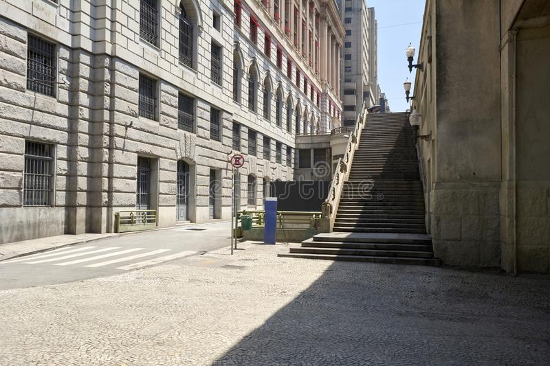 Staircase in downtown of Sao Paulo city. stock photos