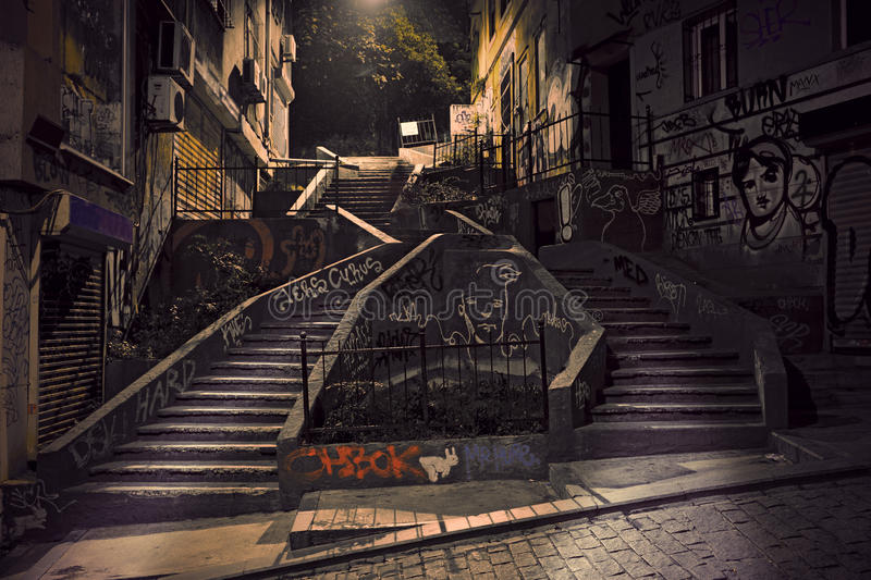 Staircase with graffiti royalty free stock images