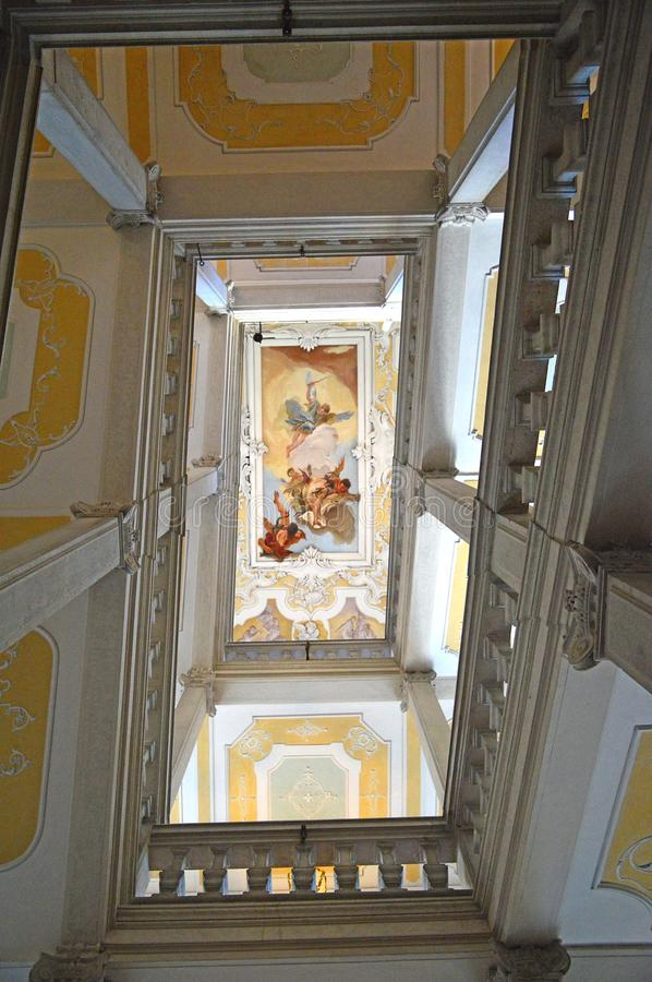 Staircase of Honour at  The Archbishop`s palace Udine, Italy. The Archbishop`s Palace or Palazzo Patriarcale and Diocesian Museum Udine, Friuli Venezia Giulia stock image