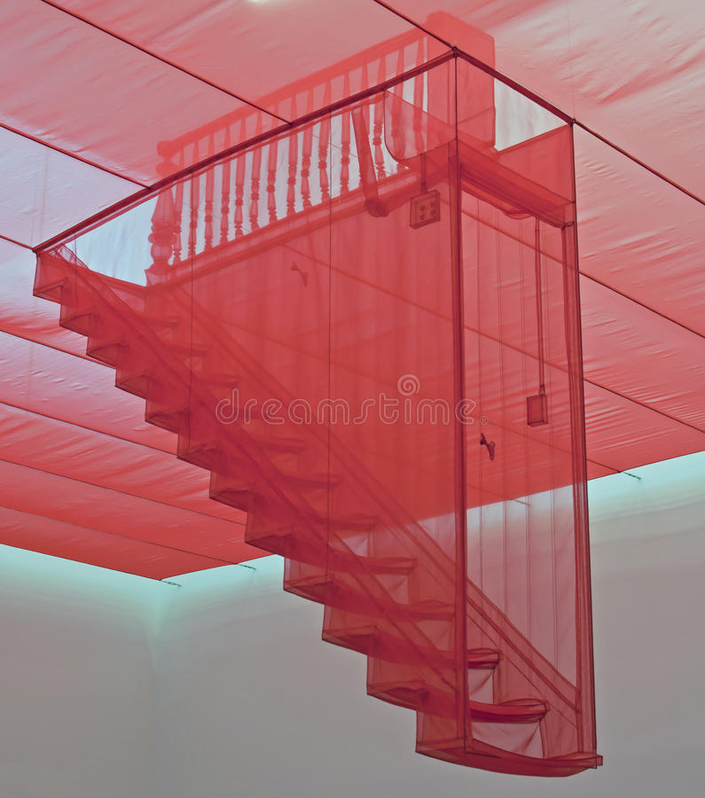 Staircase III. The art installation created by Do Ho Suh and entitled Staircase III is a centre piece at Londons Tate Modern museum stock image