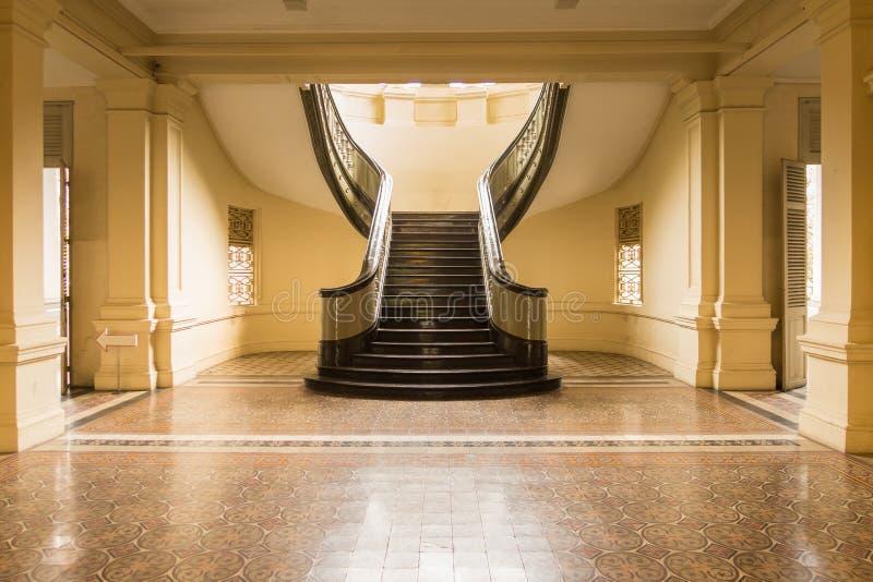 Staircase inside Ho Chi Minh City Museum former Saigon stock image