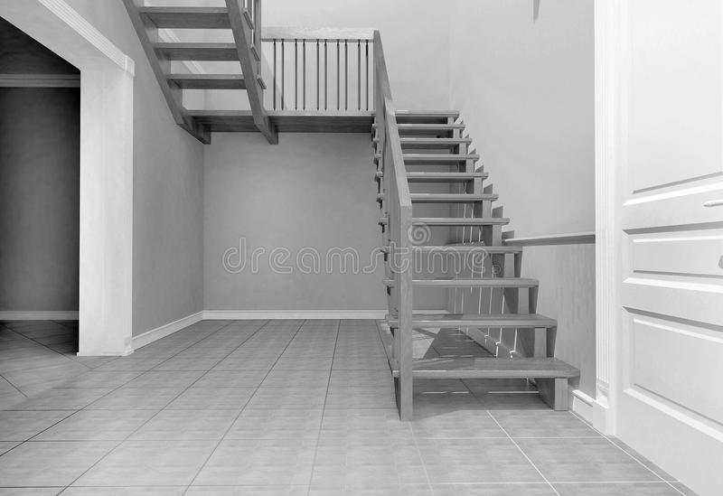 Staircase in the interior. Visualization of the stairs in the interior of the house stock image
