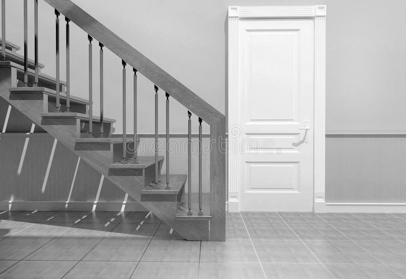Staircase in the interior. Visualization of the stairs in the interior of the house royalty free stock photo