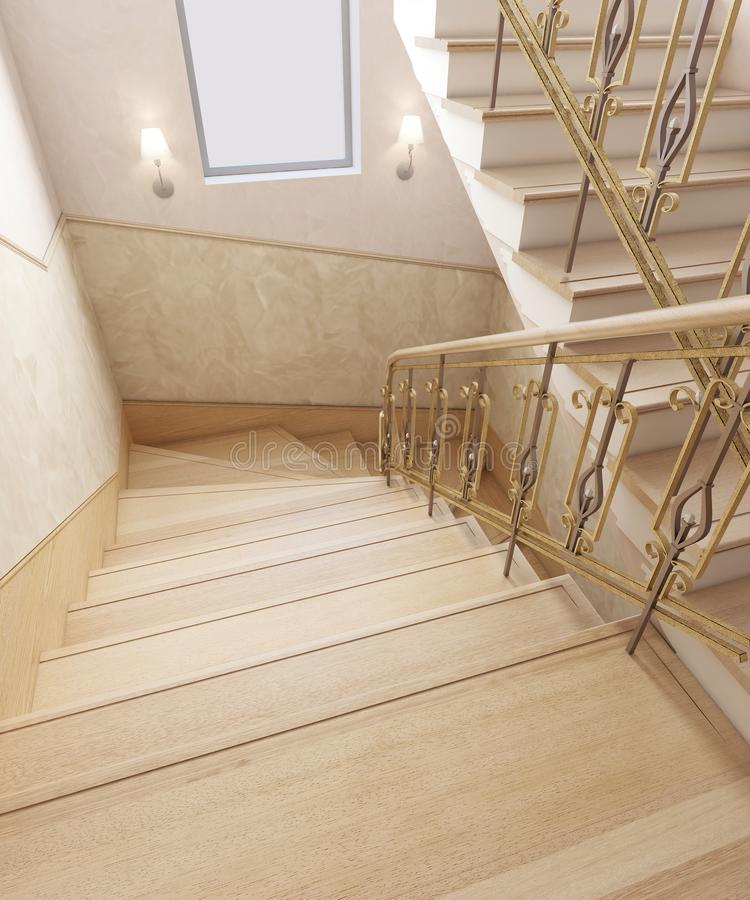 Staircase in the interior of a private house in a classic design. Wooden steps with gilded forged rails. 3D rendering stock illustration