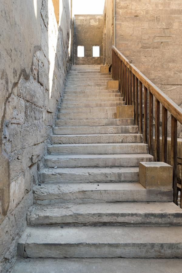 Staircase leading to the minaret Ibn Tulun mosque, Cairo, Egypt. Staircase leading to the minaret Ibn Tulun mosque, Sayyida Zaynab district, Medieval Cairo stock photo