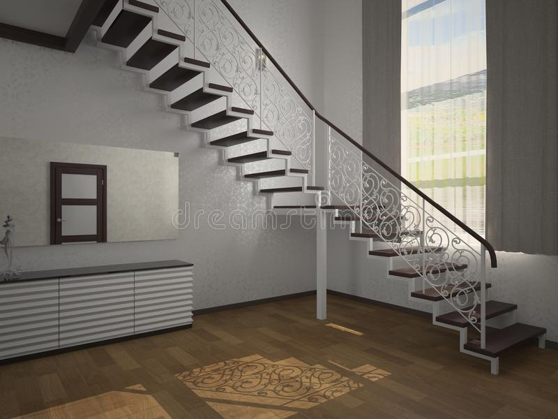 Staircase in the lobby 3d vector illustration