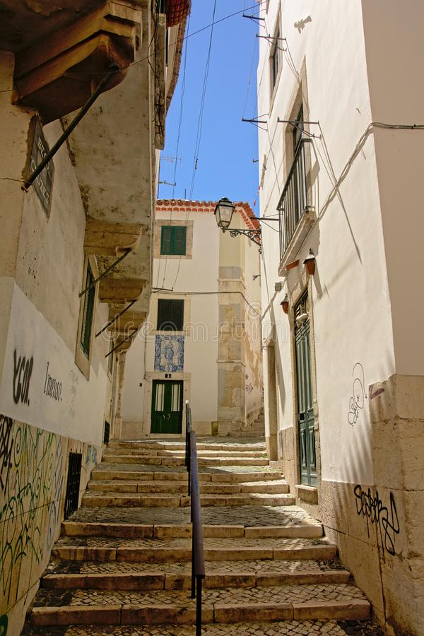 Staircase in the narrow streets of Lisbon royalty free stock images