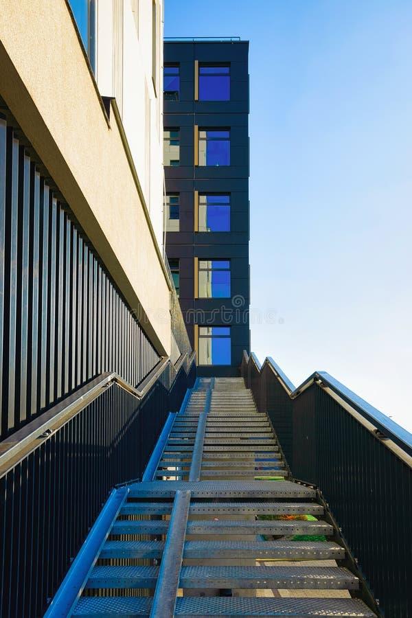 Staircase near entrance into Modern residencial building royalty free stock photo