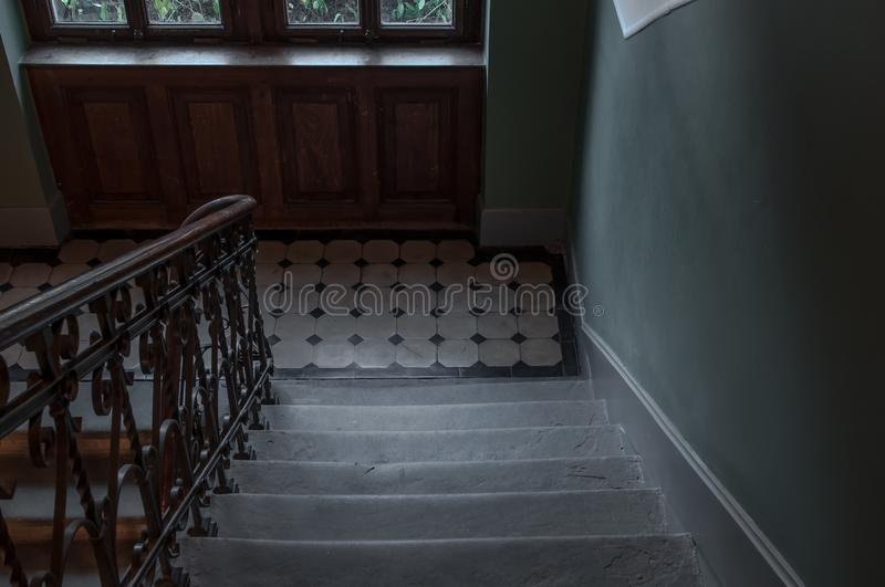 Staircase in old building in old town royalty free stock photography