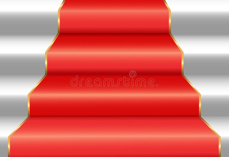 Download Staircase with red carpet stock vector. Image of festive - 25274451