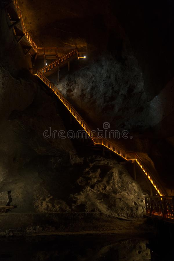 Staircase in the salt mine stock images