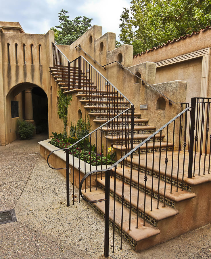 A Staircase in Spanish-Colonial Style Architecture royalty free stock image