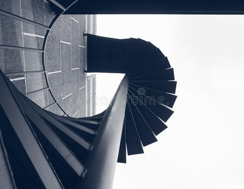 Staircase step Building Exterior Fire spiral Architecture Details. Abstract Background royalty free stock photos