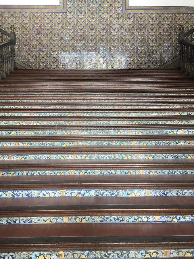 Staircase Tiles. At Maria Luisa Park in Seville, Spain, January 2018 royalty free stock images