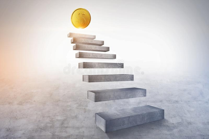 Staircase to gold dollar coin, financial success royalty free illustration