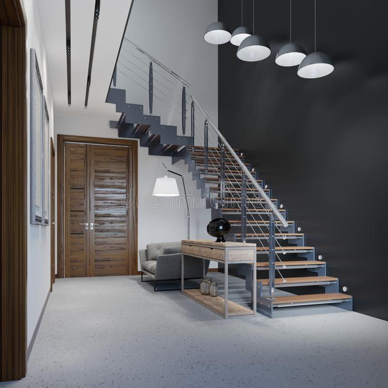 Staircase to the second floor in a modern apartment with metal railings and wooden steps with large pendant lamps, black and white royalty free illustration