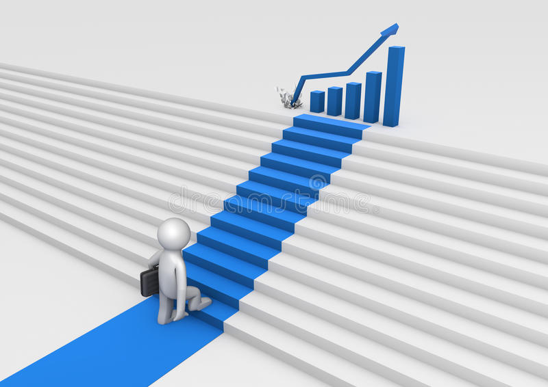 Staircase to success. Render of a person climbing stairs to success vector illustration