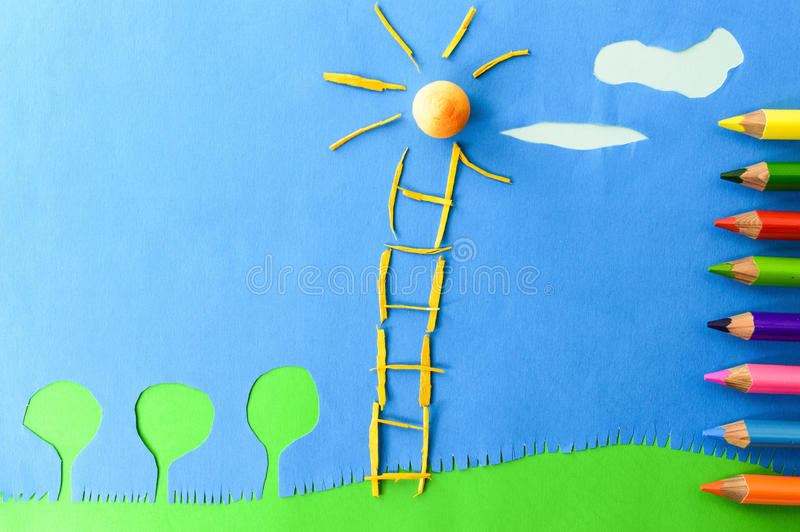 Download Children`s Play :staircase To The Sun Stock Image - Image of blue, drawing: 29743411