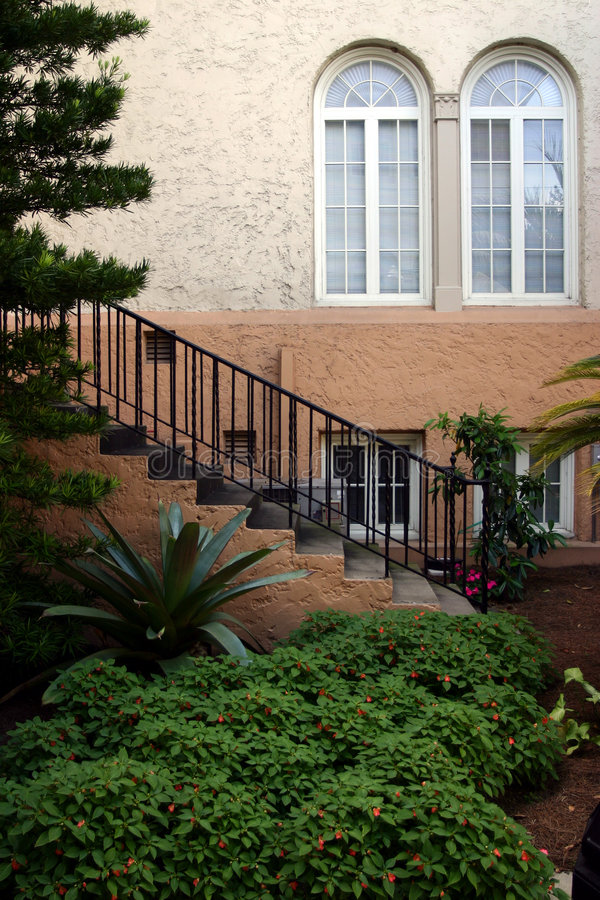 Staircase windows and garden in downtown Lakeland Florida stock photography