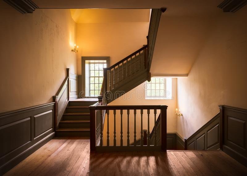 Staircase in the Wren Building. Wooden staircase in the historic Wren Building at the West End of Duke of Gloucester Street on the campus of the College of royalty free stock photography
