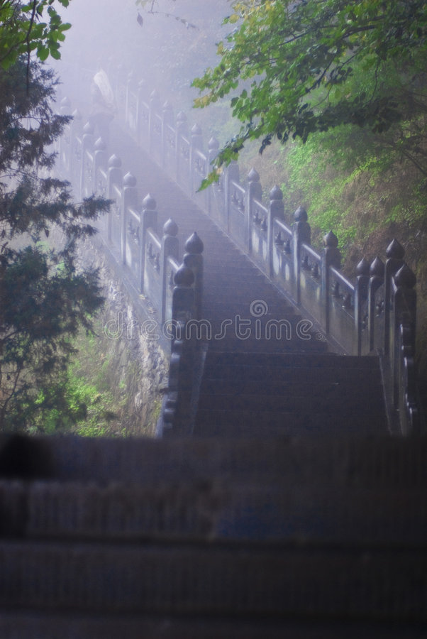 Staircase in Wudang mountains royalty free stock images