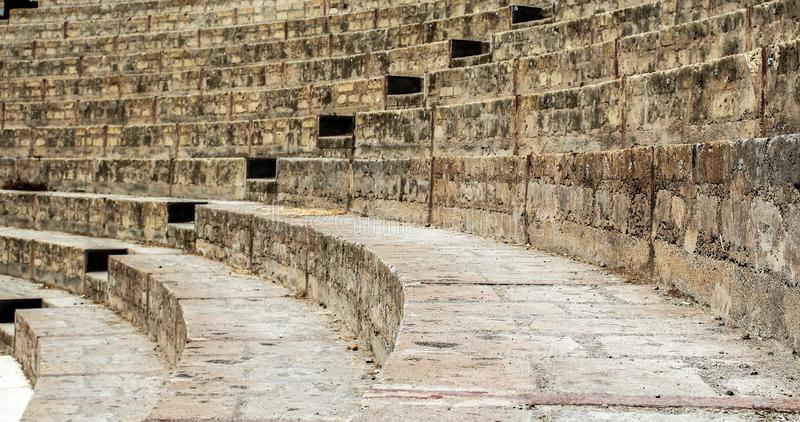 Stairs of an ancient Pompei amphitheater. Italy. Close up shot, colored stock photo