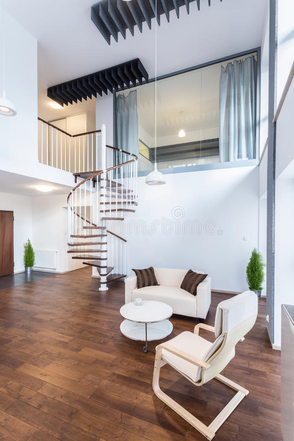 Stairs in apartment stock photos