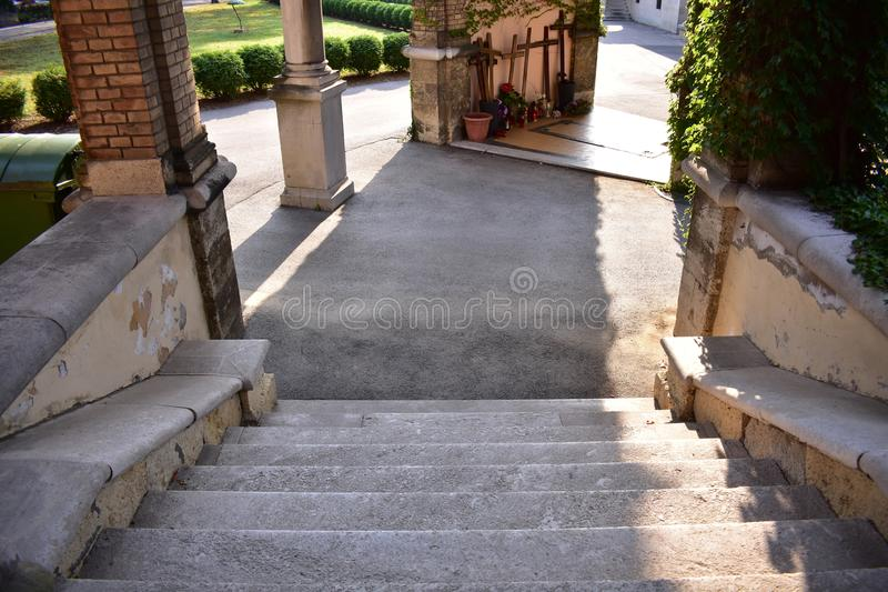 Stairs in the arcades. stock photos