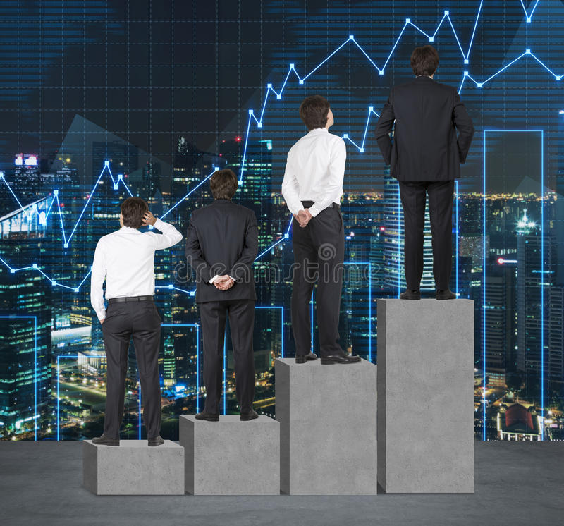 Stairs as a huge concrete bar chart. Businessmen are standing on each step as a concept of range of problems or levels of responsi royalty free stock images