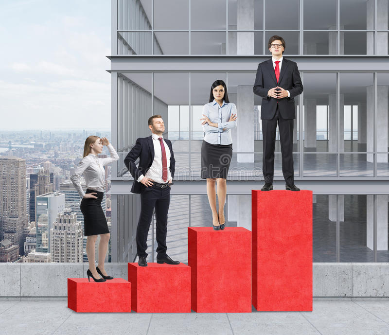 Stairs as a huge red bar chart are on the roof. Business people are standing on each step as a concept of corporate ladder. A pano royalty free stock image