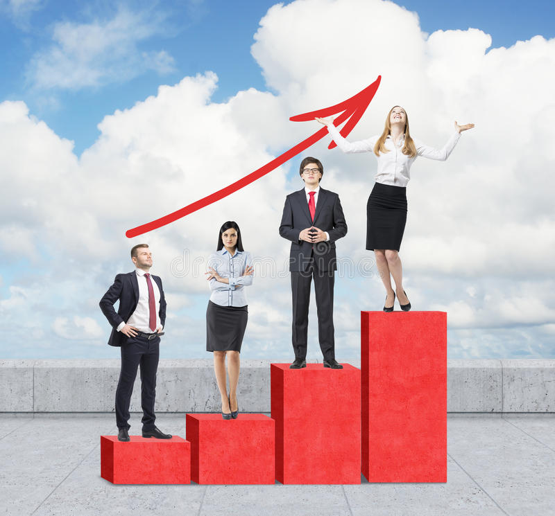 Stairs as a huge red bar chart are on the roof. Business people are standing on each step as a concept of range of problems or lev royalty free stock photo