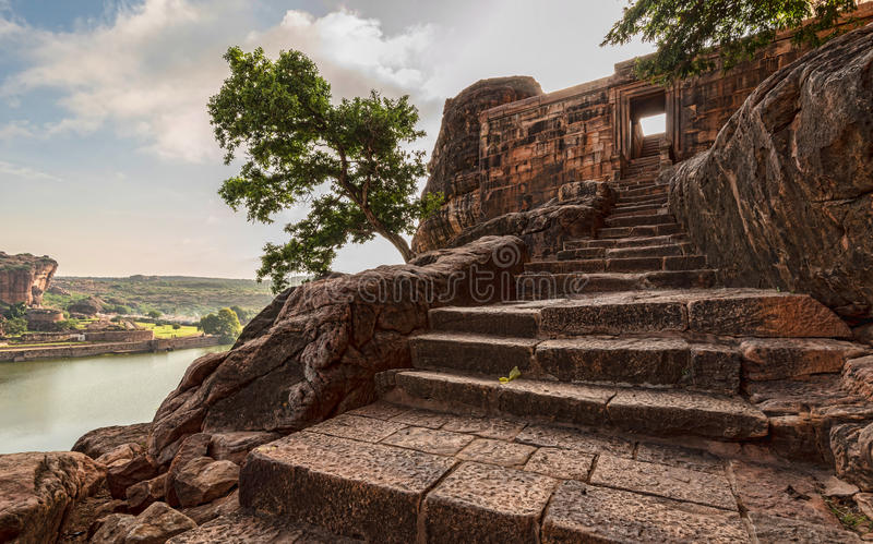 Stairs at Badami cave temples of the Chalukya age royalty free stock photo