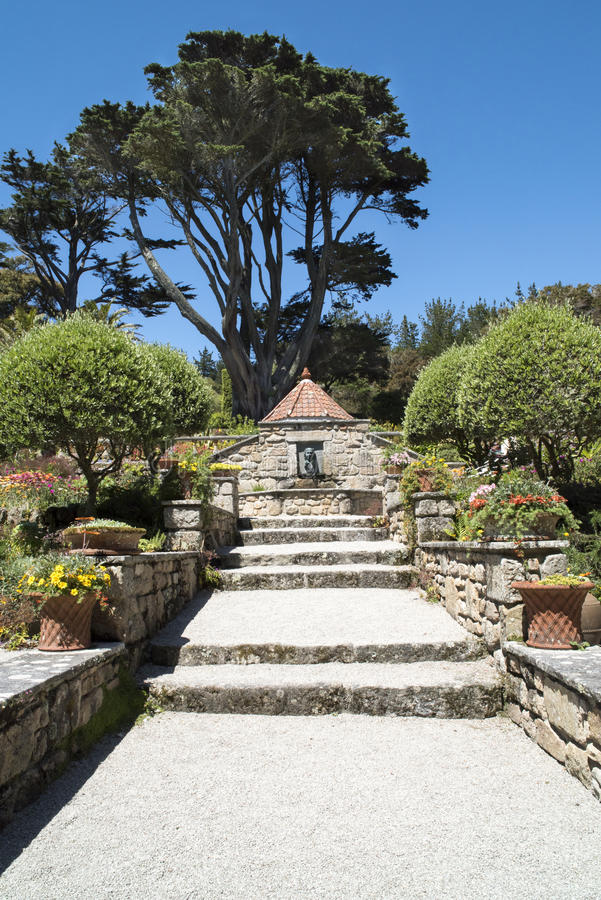 Stairs in beautiful garden royalty free stock image