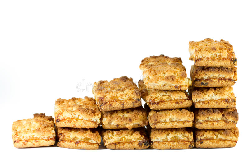 Stairs of biscuits with jam stock photos